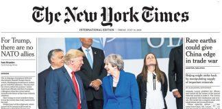 Katrín með Trump og May á forsíðu New York Times