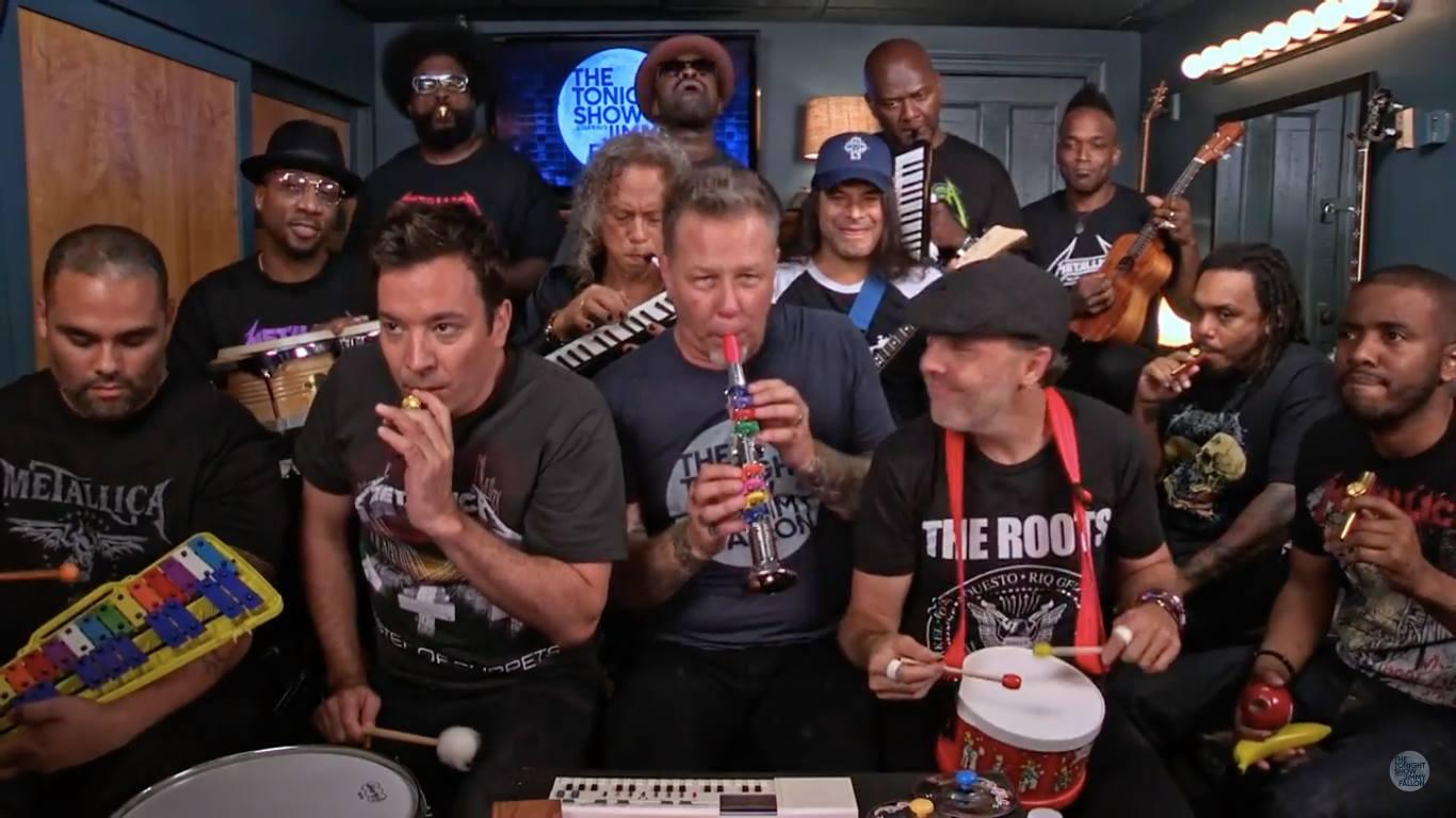 Myndband: Jimmy Fallon tekur lagið með Metallica á skólastofuhljóðfæri