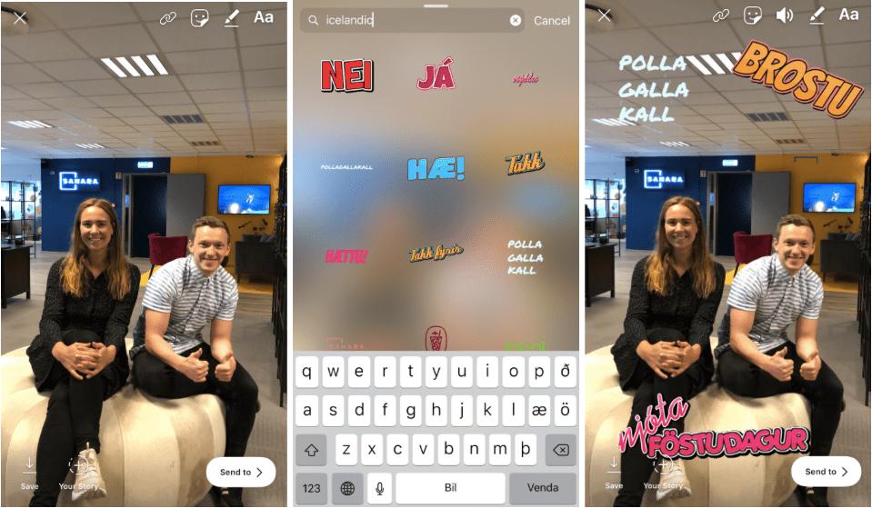 Íslenskir límmiðar á Instagram og Snapchat