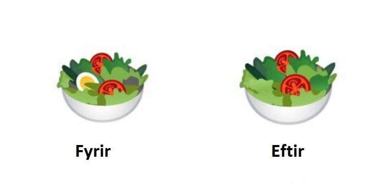Fjarlæga egg úr nýjum salat emoji til að höfða til þeirra sem eru vegan