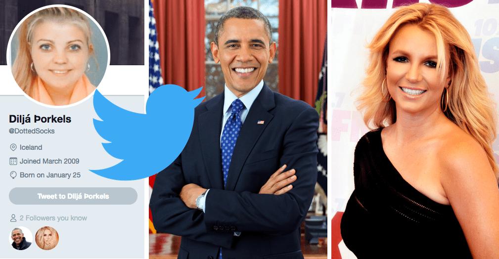 Diljá er með 32 fylgjendur á Twitter: það á meðal Barack Obama og Britney Spears