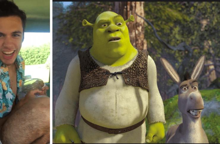 Sjáðu geggjaða Shrek-eftirhermu sem varð til í langri bílferð