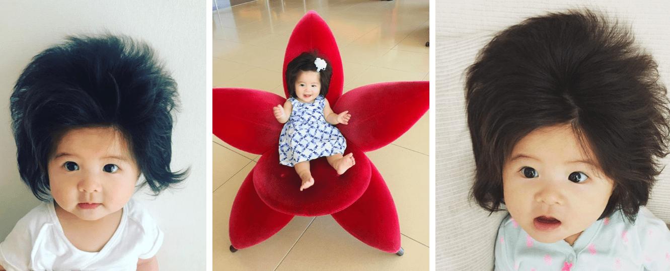 Einstaklega hárprútt barn vekur athygli á Instagram