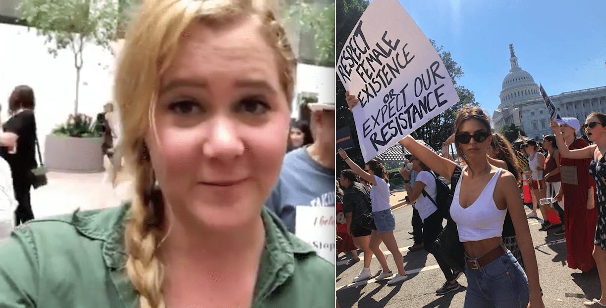 Amy Schumer og Emily Ratajkowski handteknar á mótmælum vegna Kavanaugh