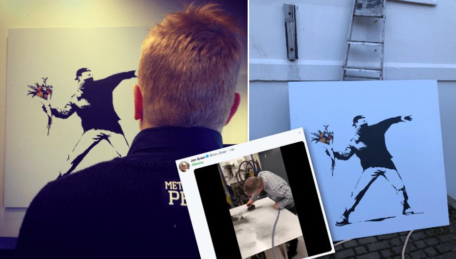 """Banksy ætlar að gefa Jóni nýtt verk ef hann verður dæmdur: """"Fer áhyggjulaus útí daginn"""""""