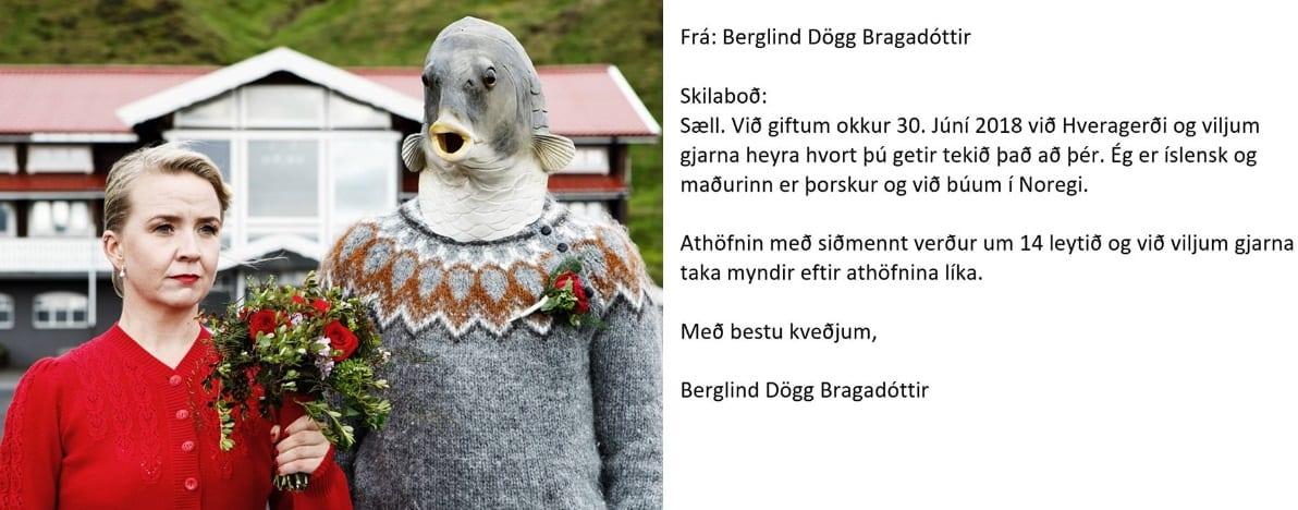 """Þýðingarvél Google lífgaði upp á brúðkaupsmyndatöku: """"Maðurinn er þorskur"""""""
