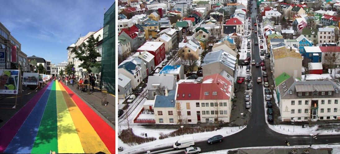 Gleðirendur málaðar á Skólavörðustíg í tilefni Hinsegin daga