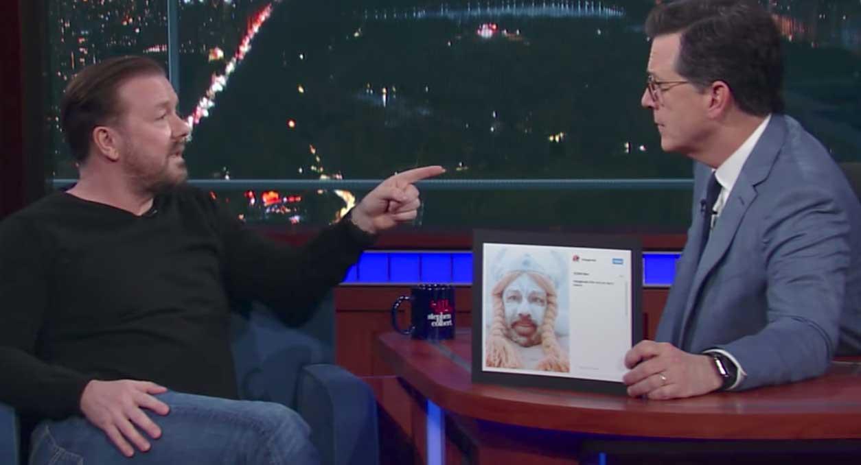 Ricky Gervais og Stephen Colbert rökræða um hvort Íslendingar trúi á álfa