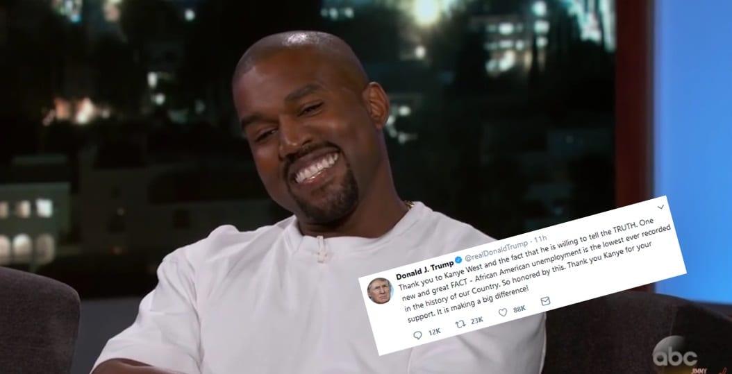 Trump þakkar Kanye fyrir stuðninginn og segir atvinnuleysi svartra aldrei hafa verið lægra