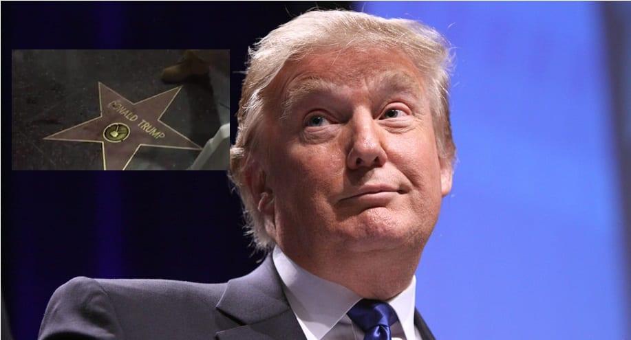 Skemmdarverk unnin á stjörnu Donald Trump - Vitni tóku atvikið upp á myndband