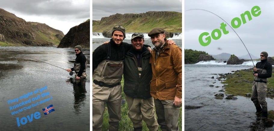"""Beckham skellti sér í laxveiði: """"Þeir duttu kannski úr leik á HM en ég elska Ísland"""""""