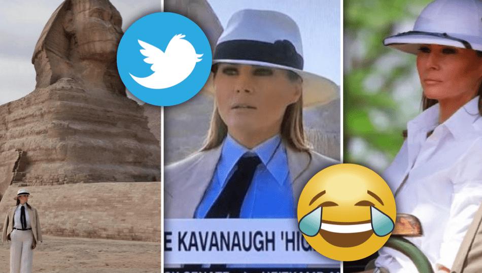 """Gera grín að fatavali Melaniu Trump í Afríku: """"Er að koma ný Indiana Jones mynd?"""""""