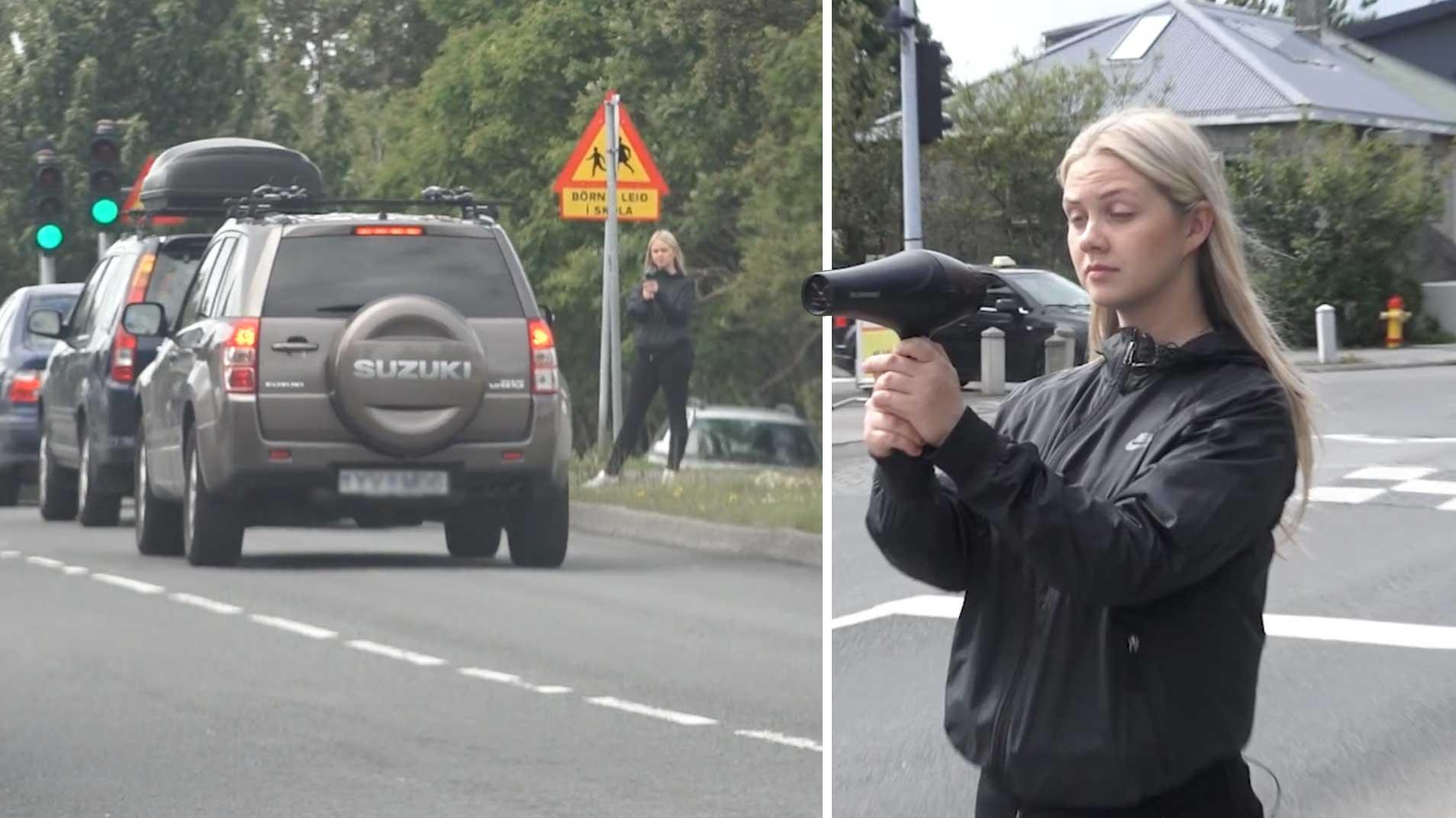 Er hægt að hægja á bílaumferð í Reykjavík með hárblásara? Sjáðu myndbandið