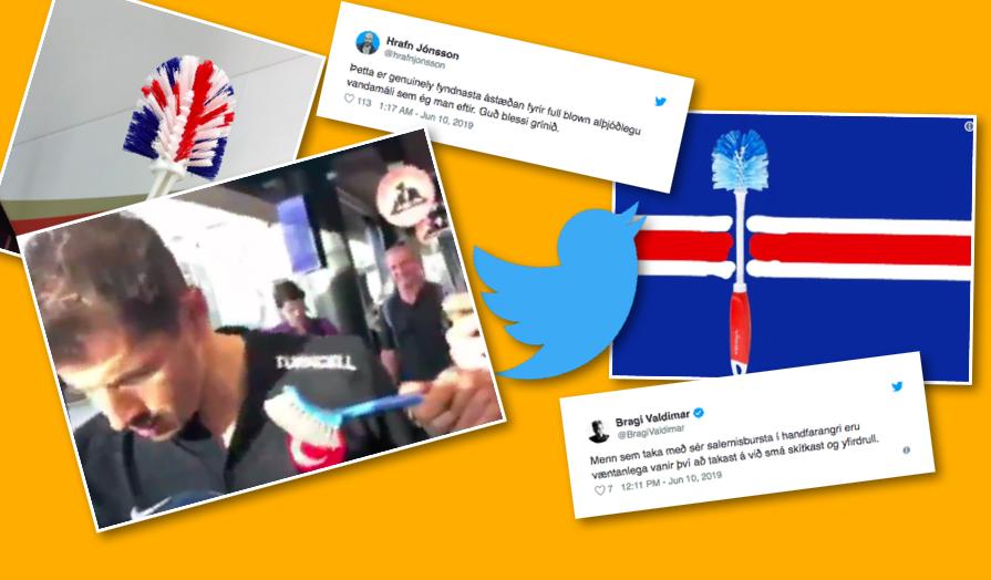 """Íslendingar á Twitter tjá sig um uppþvottaburstamálið: """"Verður varla leyst nema í næstu Eurovision-keppni"""""""