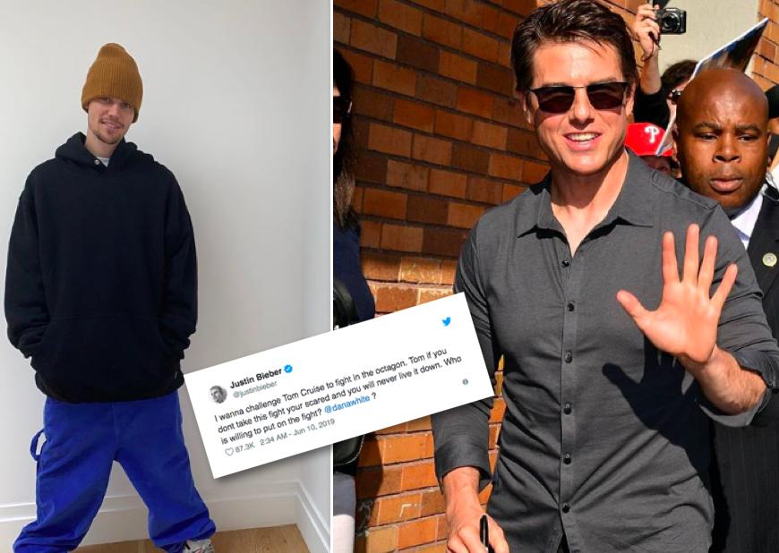"""Justin Bieber vill slást við Tom Cruise: """"Ef þú tekur ekki þessari áskorun ertu hræddur"""""""