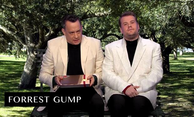 Tom Hanks lék ALLAR bíómyndirnar sínar á 6 mínútum - með smá aðstoð frá James Corden! - MYNDBAND
