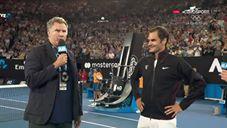 Will Ferell GRILLAÐI einn frægasta tennis-spilara heims fyrir framan alla áhorfendurna!