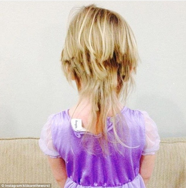 Mullet princess: One little girl, dressed as a fairytale princess, cut her hair in a mullet