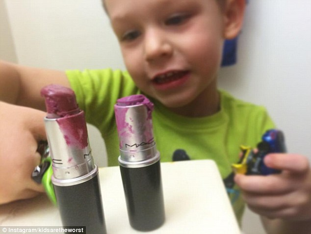 Expensive habit: This boy ruined his mum's expensive MAC lipsticks, and doesn't seem to care