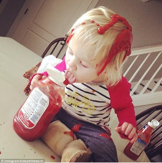 Messy: The page has more than 167,000 followers who can relate to the childrens' antics, that include covering themselves in ketchup