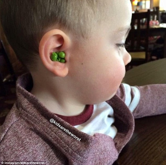 Hidden veg: One fussy eater chose to hide his peas in his ear, but was unfortunately found out