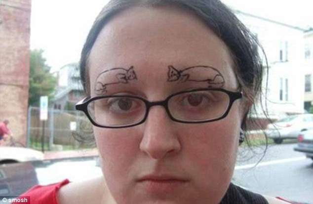 If you really love your cats then you can have them tattooed onto your face instead of eyebrows