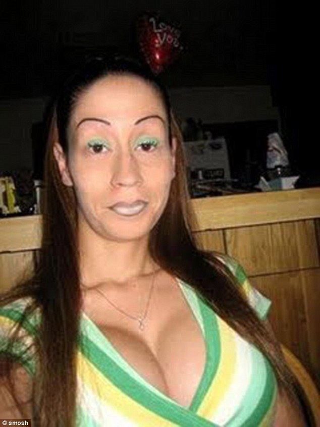 She might have matched her eyeshadow with her top but her eyebrows definitely clash