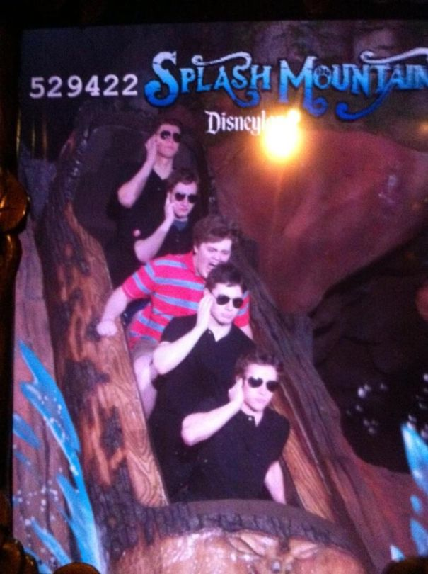 My Boyfriend And His Friends Have Been Pretending To Be Body Guards For One Of Their Choir Mates All Day In Disneyland. This Is Them At Splash Mountain