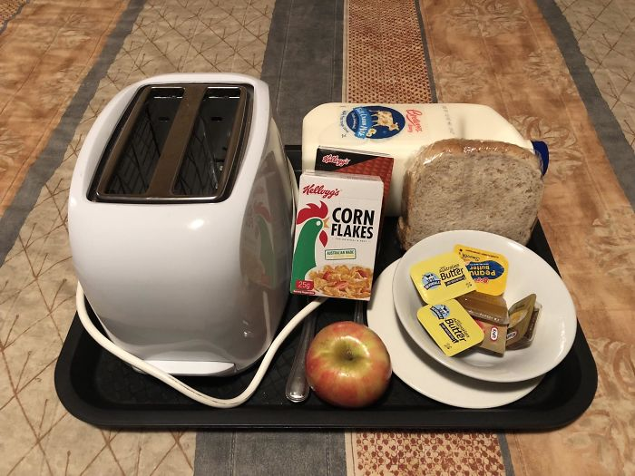 A Motel Served Me This Breakfast Tray For $15 And Contains A Toaster, And A 2l Milk