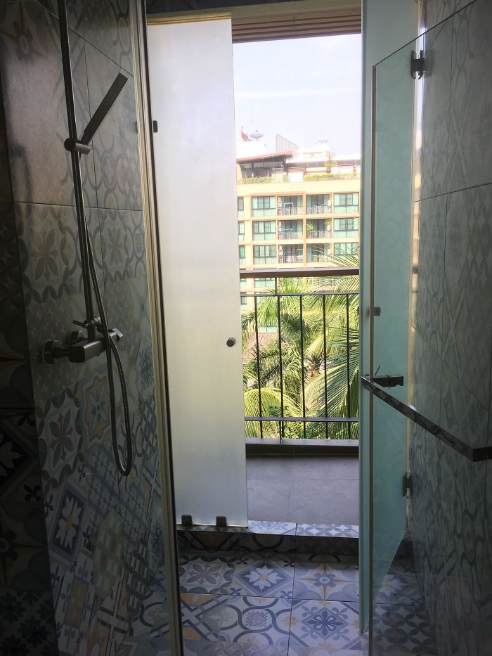 The Door To My Hotel Balcony Is In The Shower Stall