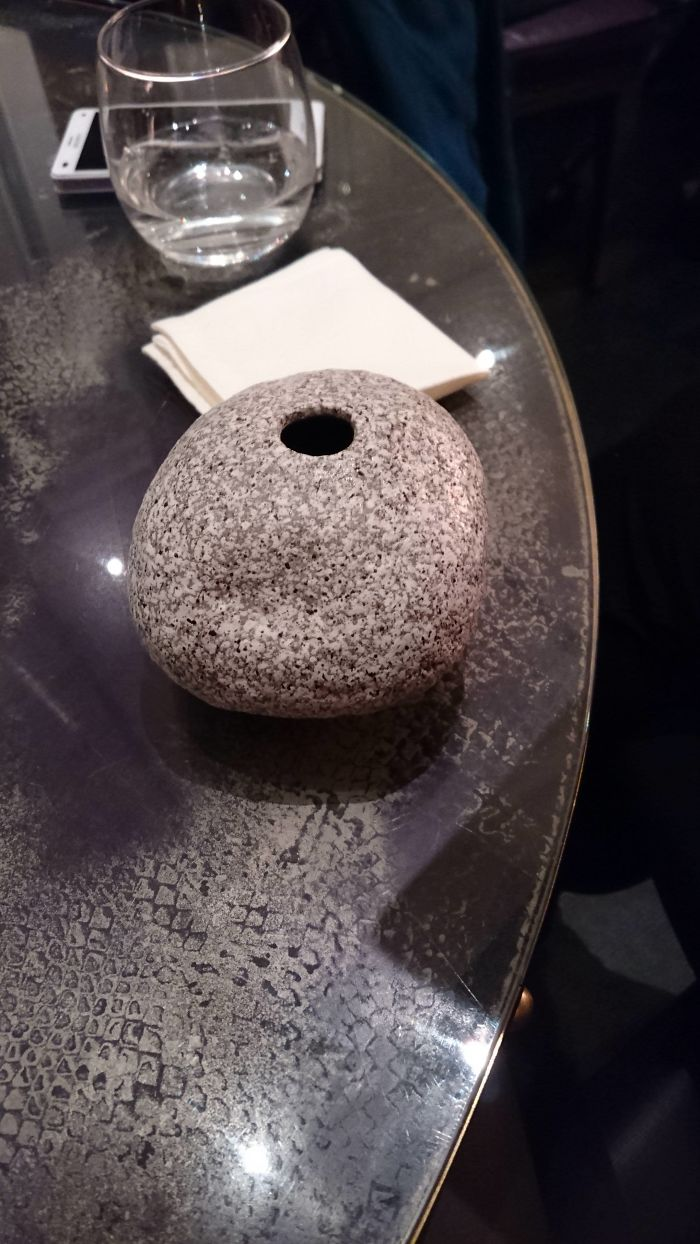 My Wife's Cocktail Was Served In A Hollow Stone And Had To Be Drunk Through The Hole, Without A Straw