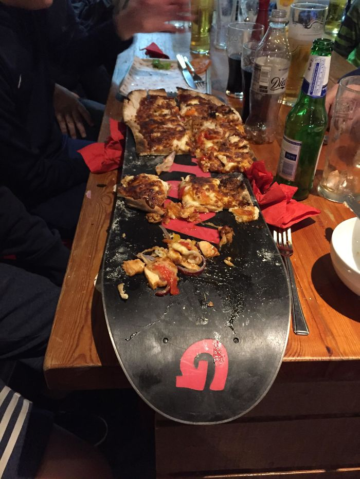 Pizza On A Snowboard