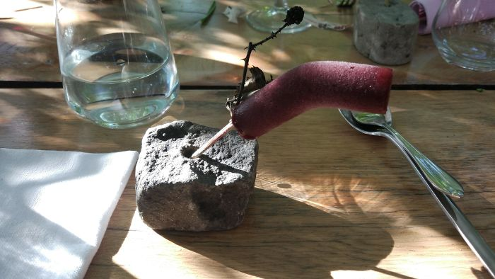 Raspberry Ice Cream On A Twig, In A Hole Drilled Into A Rock