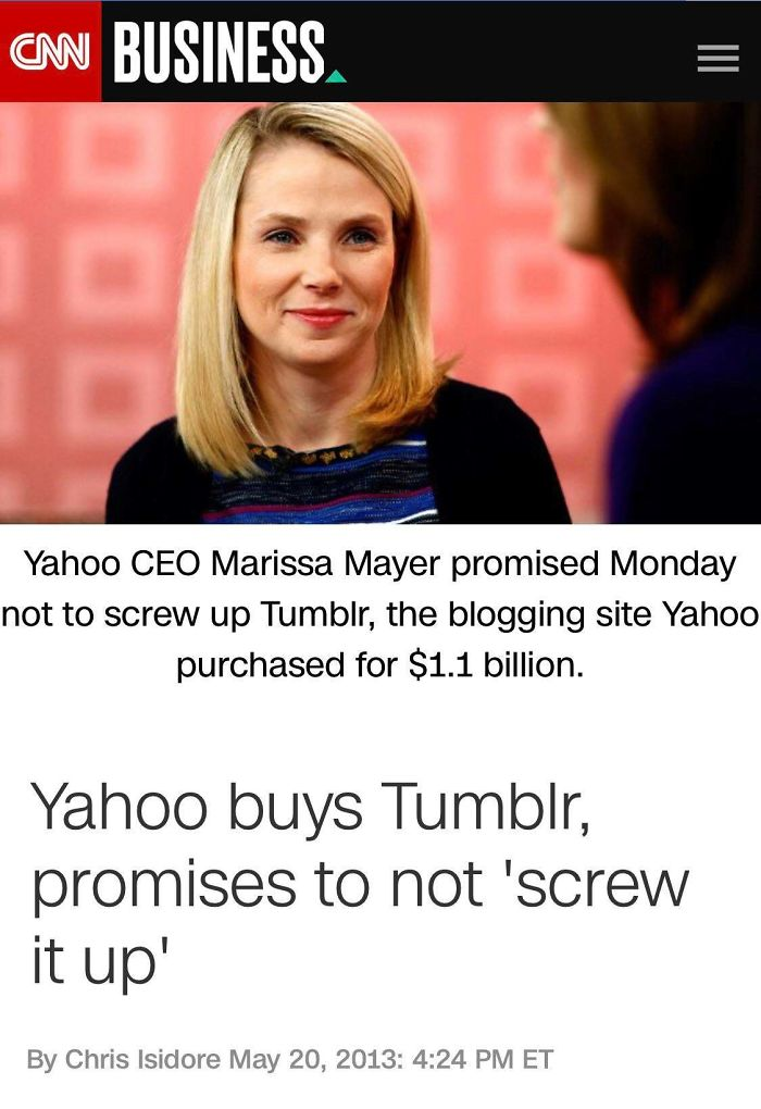 """Marissa Mayer Promises """"No To Screw Up"""" Tumblr After Buying It For $1.1b In 2013..."""