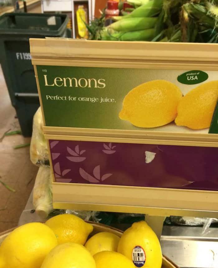 Amusing Epic Design Fails lemons perfect for orange juice