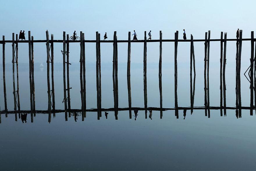 the U-Bein Bridge, Myanmar
