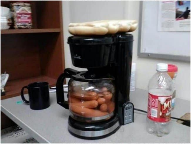 Really Stupid Or Pure Genius Ideas coffee pot hot dogs