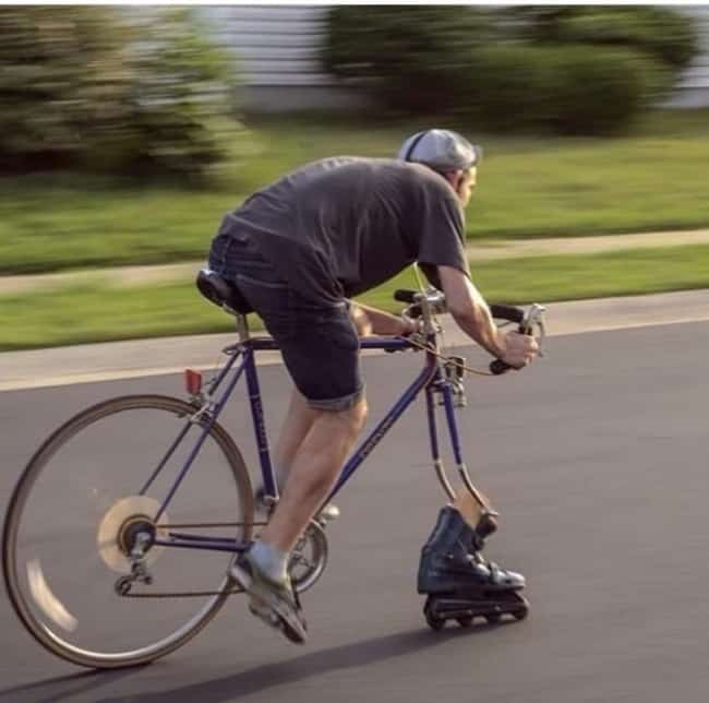 Really Stupid Or Pure Genius Ideas roller blade bike wheel