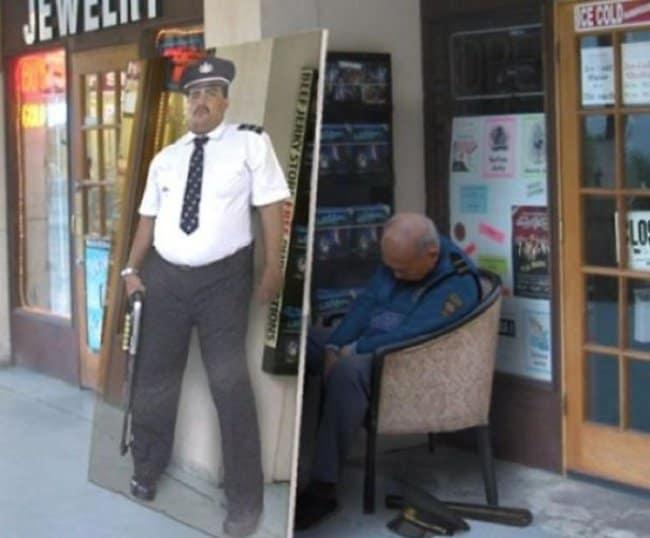Security Fails sleeping guard