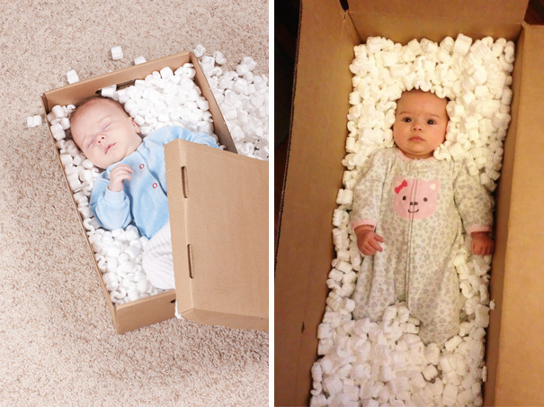 Cute Baby Sleeping In A Box. Nailed It