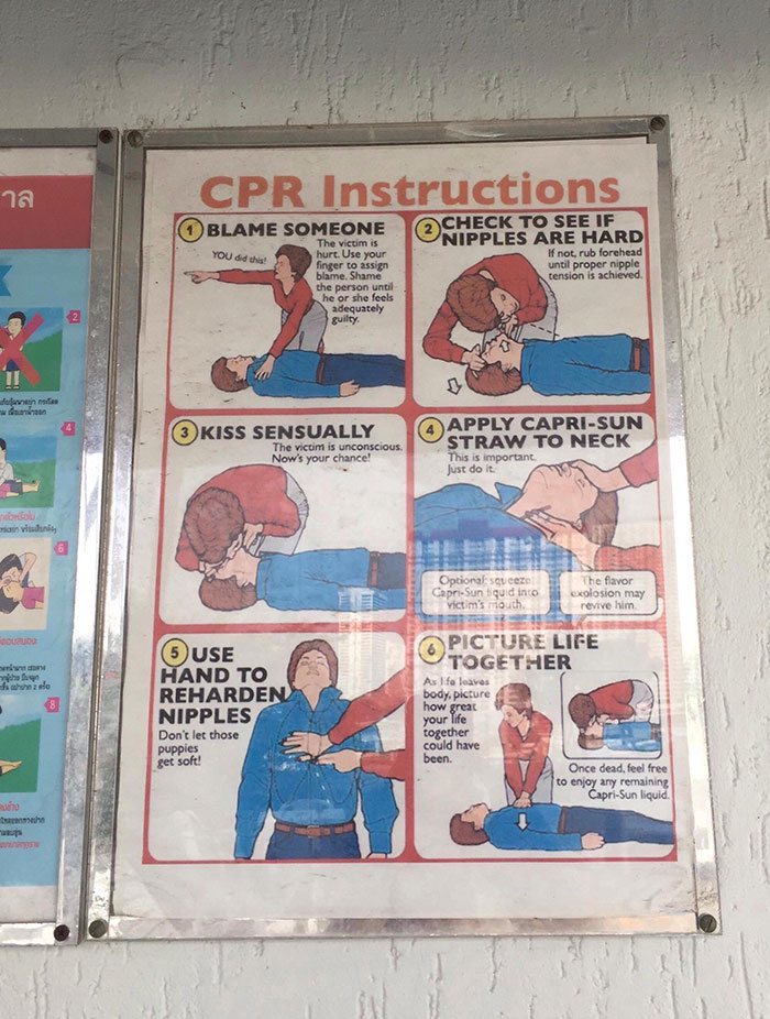 Thailand Trolled Again. CPR Instructions Next To The Hotel Pool. They Have No Clue...