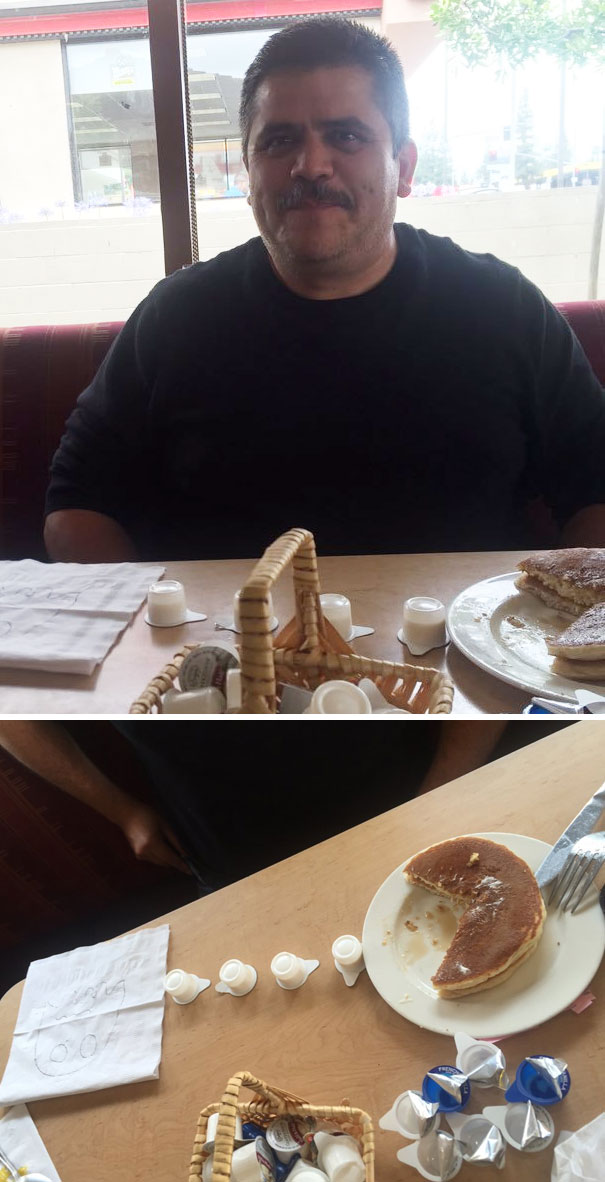 My Dad Was Looking At Me Like This For Like 5 Minutes Until I Looked Down At His Plate
