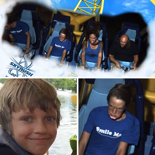 This Roller Coaster Photo Will Haunt My Son Forever. (His Normal Face For Reference)