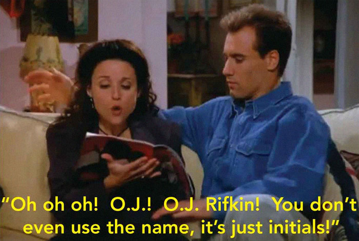 The Episode Of Seinfeld Where Elaine Is Dating A Guy Who Shares A Name With A Murderer. He Keeps Getting Mistaken For Him So She Gets Him To Change His Name. She Picks Up A Sports Magazine And Is Trying To Find A Name For Him In There, And Comes Up With