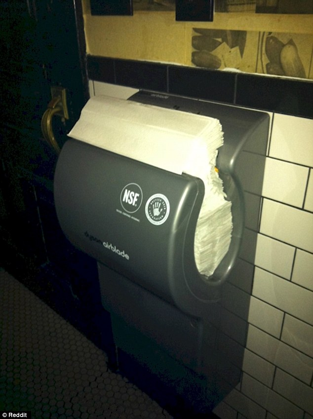 Bad day:One of the top shared posts on the Internet shows a Dyson hand drier filled with paper towels
