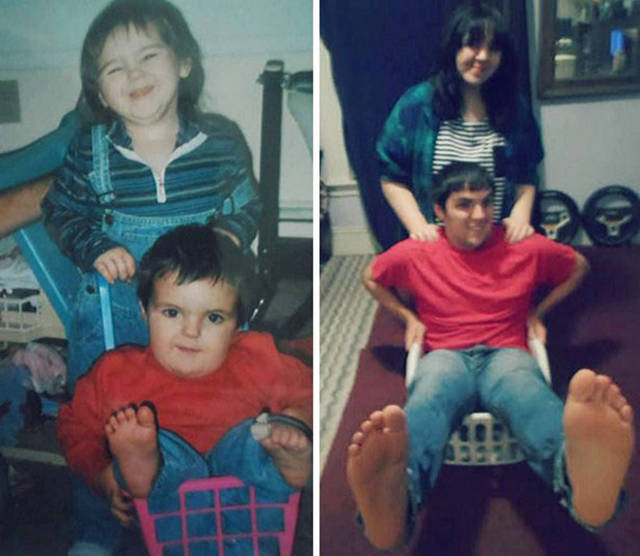 I Bet These People Had A Lot Of Fun While Recreating Their Childhood Photos