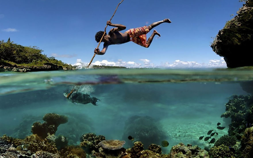 Traditional Fishing On The Island Of Mare In New Caledonia