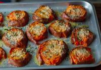 Kramdar sætar kartöflur með hvítlauk og parmesan